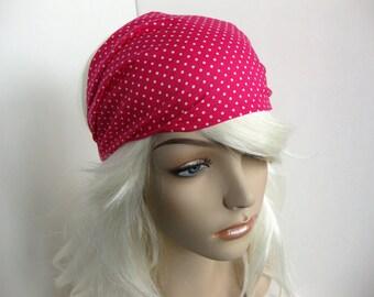 Polka Dot Headband Womens Headband Gypsy Head Wrap Wide Bandana Fabric Headband Pink Headband Hair Accessory Womens Gift for Her