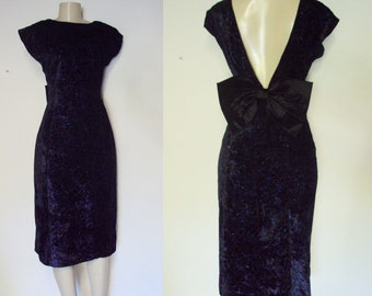 Dark  Velvet Cocktail Dress with big bow and low back