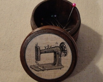 Trinket Box / Powder Box - Antique Sewing Machine