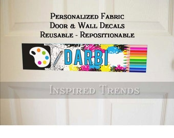 Personalized Artist Palate Door or Wall Decal Removable Reusable