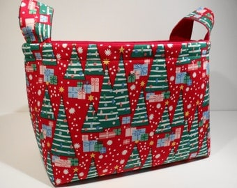 Christmas Fabric Storage Basket Bin Organizer Storage Container-Christmas Trees and Presents on Red with Red Interior