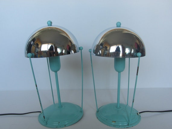 Mint green with chrome  shade lamps, art deco or 1950s bedroom light or twilight lamp