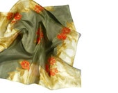 Dark green scarf with orange flowers - painted silk scarf - floral scarf - AndreaSilk