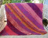 Brightly Colored Knit Afghan/ Throw in Pink, Yellow,Blues and Cream-  41 x 43 inches