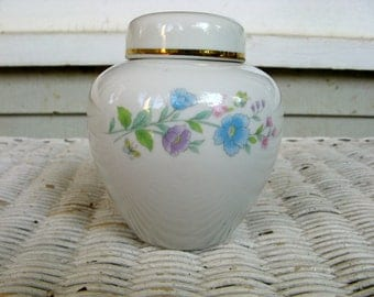 Ceramic Ginger Jar from Japan-Vintage -  Floral Design with Gold Edge on Lid- 4 1/2 Inches High, 12 Inches Around