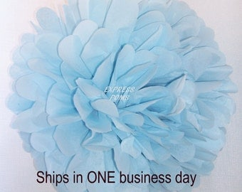 Light Blue Tissue Paper Pom Pom - 1 Large Pom - 1 Piece - Ships within ONE Business Day