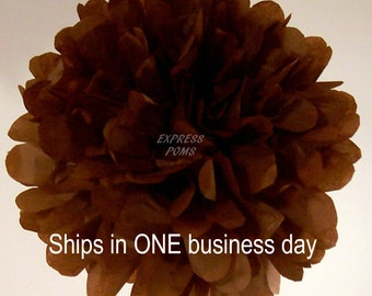 Brown Tissue Paper Pom Pom - 1 Large Pom - 1 Piece - Ships within ONE Business Day