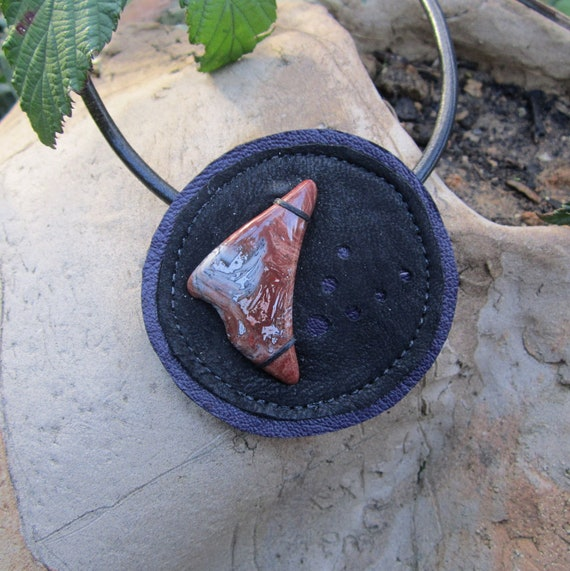 RESERVED Australian Jasper Recycled Leather Pendant Necklace by Ariom Designs