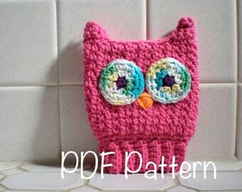 PATTERN:  Scrubba Dubba Owl- Easy Crochet Children's Bath Mitt, Kids Washcloth, Cotton, PDF,InStAnT DoWnLoAd,  Permission to Sell
