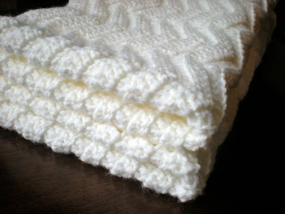Chevron Baby Afghan- Handmade crocheted off-white baby blanket, gender ...