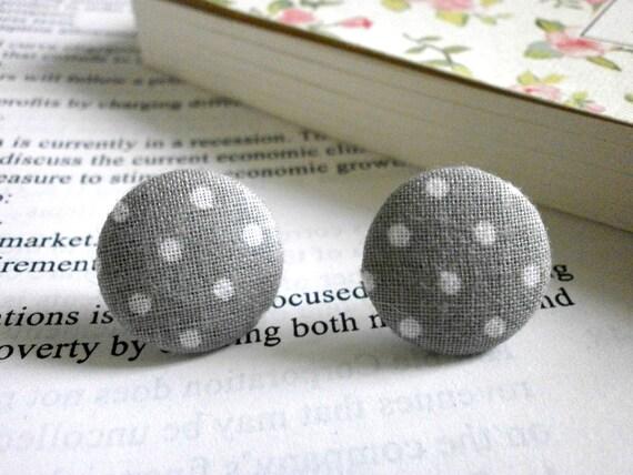 Retro polka dot earrings, Fabric button earrings, Button earrings,  Nickel Free earrings, Stud earrings, diameter 20mm, 4/5 inches