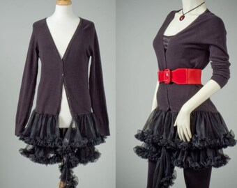Womens repurposed black sweater dress petty coat ruffle S