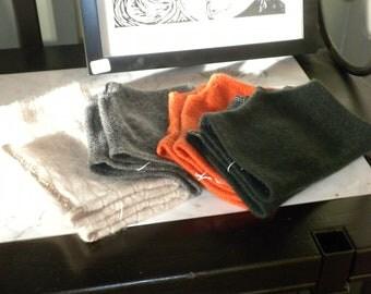 Cashmere Fingerless Pumpkin Orange Gloves/Mitts
