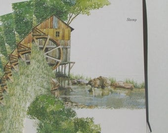 Water Wheel House Just a Note  (set of 9):  Marshlands - Current Inc.-1970s - self mailer - notecards - ephemera