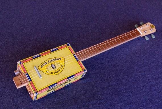 Cigar Box Guitar / Baritone Ukulele - Acoustic / Electric 4-String - KING ED - CBG - Slide Guitar