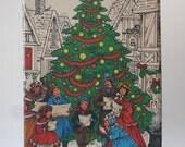 Vintage Potpourri Press Christmas Tin, Gift, Giving, Christmas Tree, Caroling