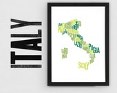 Italy Font Map. Limited Edition Digital Print, 297x420mm