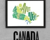 Canada Fontmap - Limited edition typographic map digital print, 420x297mm