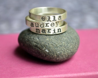 Personalized Stacking Name Ring Set with Typewriter Font in Sterling Silver