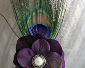 Hair clip purple flower  with peacock feathers