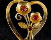 Coro Brooch 1948 Adolf Katz Designed Heart Shaped Floral Pretty Little Pin