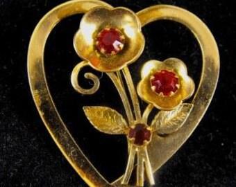 Coro Brooch 1948 Adolf Katz Designed Heart Shaped Florals