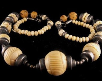 North African Hand Beaded Carved Ox Bone Necklace Tribal Arts