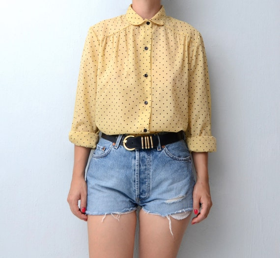 Vintage pastel yellow dot blouse with peter pan collar