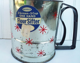 Vintage Androck Flour Sifter 5 Cup