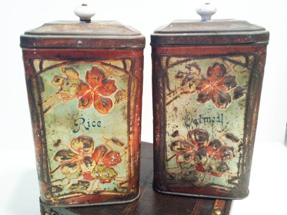 Vintage Rustic Primitive Tin Oatmeal Rice Containers with Red Flowers