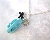 Vintage Princess Phone Charm Necklace Stocking Stuffer Shabby Chic Little Girl 50's Aqua Blue & Black Bow Rhinestone Silver - Call Me Maybe