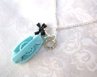Vintage Princess Phone Charm Necklace Stocking Stuffer Shabby Chic Little Girl 50's Aqua Blue & Black Bow Rhinestone Silver - Call Me Maybe