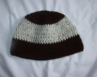 Crochet mens Beanie Skull brown and cream speckled