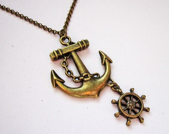anchor necklace, nautical jewelry, sea necklace, beach jewelry, brass anchor necklace, anchor necklace jewelry, anchor pendant, rudder