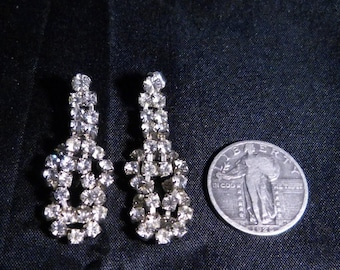 Vintage 1950's Clear Rhinestone Earrings.