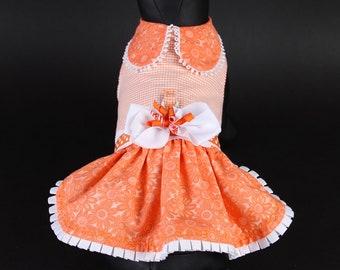 SPRING:  Orange Daisy DOG DRESS
