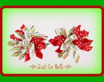 CHRISTMAS Dots & Stripes --  Korker Dog Bows
