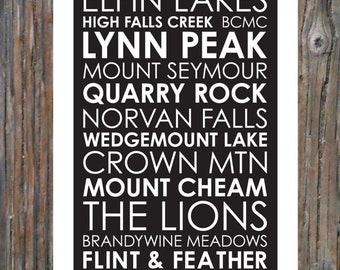 Hiking Trails BC - Poster 12x36 - Modern Print