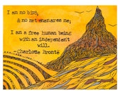 Original Illustration, Charlotte Brontë Quote - 8x10 Archival Print, Jane Eyre, I am No Bird, Literature Art
