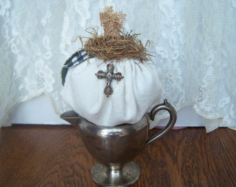 Pumpkin on Vintage Silver, Fabric pumpkin, vintage cross
