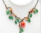 Peach beaded Necklace, Leaf Necklace, Nature Jewelry, Fall Fashion