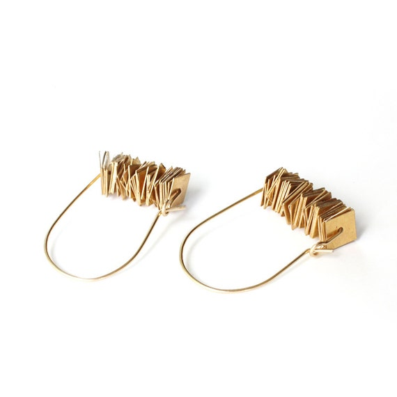 Geometric Gold Sequin Arch Hoops / 14k gold-fill hoops / stacked square brass sequins / modern gold hoop earrings - Last Pair