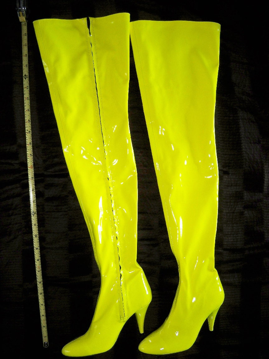 neon yellow thigh high boots size 5 5