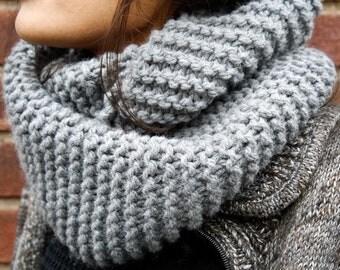 Grey Handknit Chunky Infinity Scarf