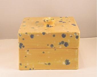 Yellow Box, Ceramic Box, clay box, ceramix box, yellow ceramic box, yellow and blue box, pottery box