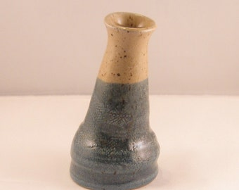 Blue and Beige, leaning bud vase, mini vase, small vase, ceramic vase, bud vase, pottery vase, blue and tan