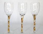 Vintage Glasses Gold Stemmed Bar Ware Ribbons Of Gold Glass Stemware Stunning Hollywood Regency Barware Eclectic Bar Cart Hostess Serving