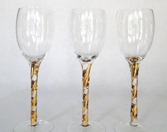 Vintage Glasses Gold Stemmed Bar Ware Ribbons Of Gold Glass Stemware Stunning Hollywood Regency Barware Eclectic Bar Cart Hostess Serving
