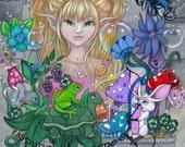 The Magic Window Fairy fantasy cute children's art mouse big eyes flower frog fine art 5x7 Print