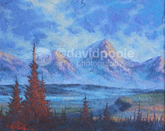 Grand Teton Mist and Cliffs. Photography Print of painting 8x10 Fine Wyoming Landscape